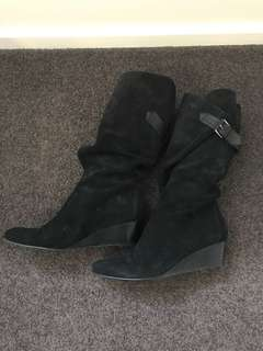 Suede black wrap wedge boots