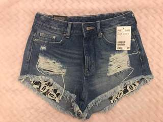 Mickey Mouse High Waisted Denim Shorts
