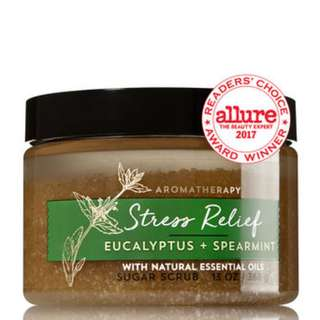AUTHENTIC Bath & Body Works Aromatherapy STRESS RELIEF - EUCALYPTUS & SPEARMINT Sugar Scrub