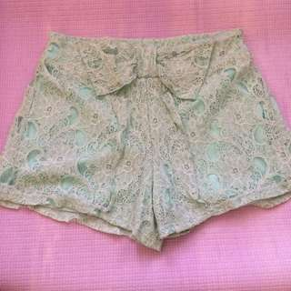 Mint Green Lace Shorts (high waist)