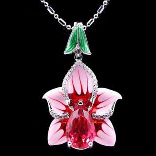 ENAMEL PENDANT FLOWER PINK PLATED WHITE GOLD + NECKLACE