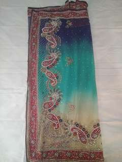 Blue sequins Saree