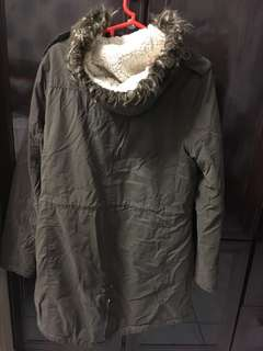 Fishtail parka (winter clothing, navy green colour)
