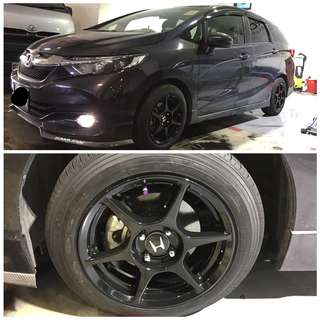 Rim spraying, Brake Caliper Spraying, Carbon fibre Relacquering, Car Exterior parts Spraying(front lip, front grill, side skirt, side mirror,rear diffuser spraying & any other spraying.