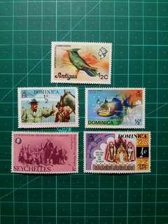 1970年代 英屬新票5枚