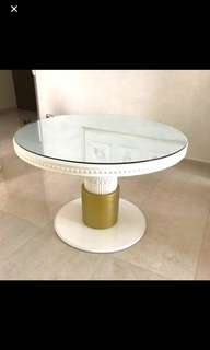 Victoria Gold and white table with glass TOP