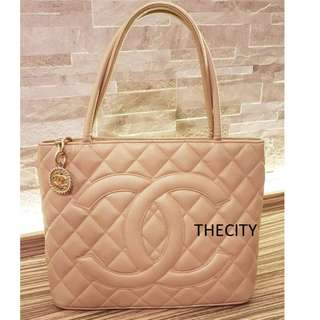AUTHENTIC CHANEL MEDALLION TOTE BAG , IN CAVIAR LEATHER