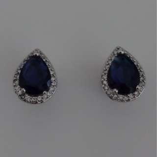 Faux Sapphire Peardrop Studs