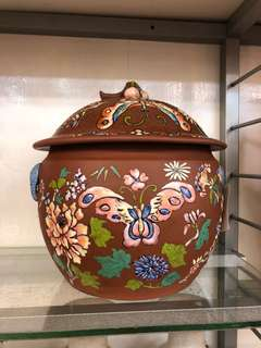 Vintage zisha kamcheng embossed butterfly motifs