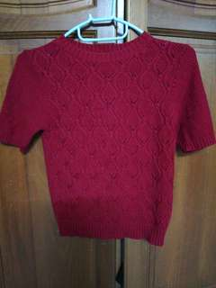 Maroon bodycon knitted top