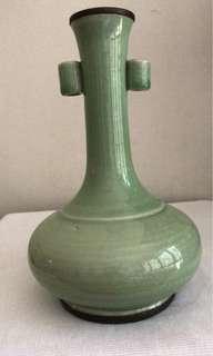 A unusual Celadon Two looped Ear Vase