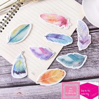 Set of 60pgs Watercolor Feathers Sticky Note