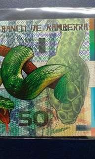 2013年 澳洲 蛇年生肖鈔 坎培拉銀行 50元 塑膠鈔 全新直版