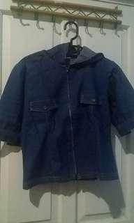 Preloved jacket biru muda hoodie