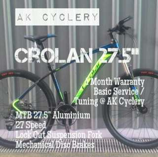 "🆕 MTB 27.5"" CROLAN Aluminium 27 Speed Lock Out Suspension Fork Mechanical Disc Brakes"