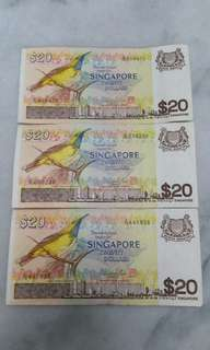 Bird series $20 Singapore x 3pcs