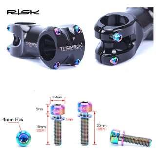 Risk Titanium Stem Bolts M5x18 w/washer 6pcs