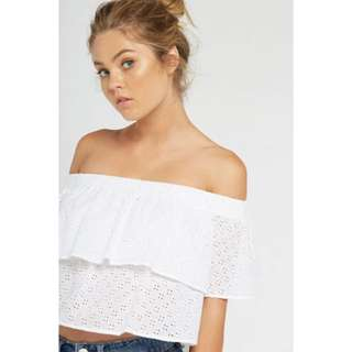 White Bandeau off shoulder