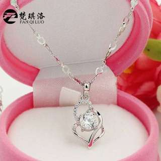 S925 Loving Heart Zircon Pendant
