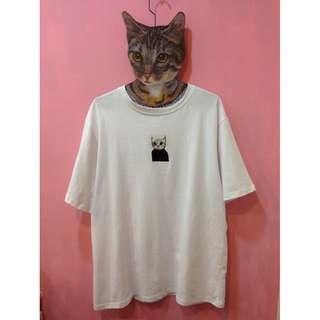 [彩色櫥窗]可愛小貓刺繡印花寬鬆t(白)