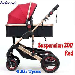 Belecoo Wine Red ALL AIR Tyres / Pram