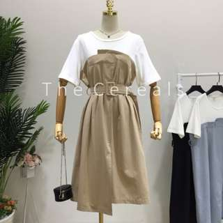 TC2250 Korea 2 In 1 Belted Long Dress (Khakis,Blue,Black)