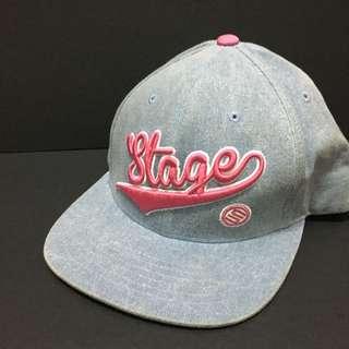 Stagecrew denim pink word cap