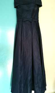 Off Shoulder Navy Blue Ribbon Gown/Long Dress