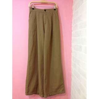 [彩色櫥窗]鬆緊褲頭好搭配寬鬆落地褲(棕)