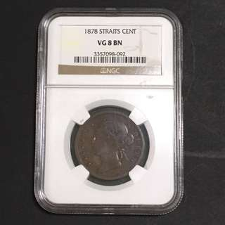 Rare 1878 NGC VG 8 Straits Settlements One Cent Coin