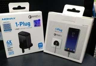 全新Momax 1-Plug QC3.0 智能快速充電器 UM1Q ,跟單,原廠2年保養