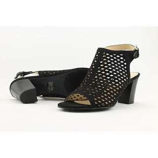Black Peep Toe Sandal Heels