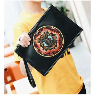 Agnereth Oriental Leather Embroidered Clutch Bag