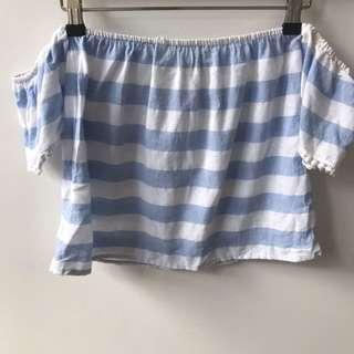 Reverse Off The Shoulder Blue Striped Top