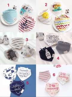 🌈(Ready Stock) Brand New Momscare Ins Baby Drool Bibs with Snaps, Drooling & Teething Bib Set of 3 Pcs