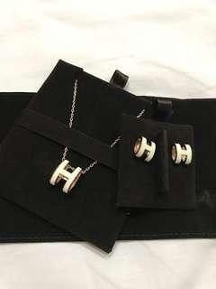 Hermès Brand New Pop H Earrings and Pendant set