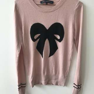 French Connection Pink Bow Knit Top