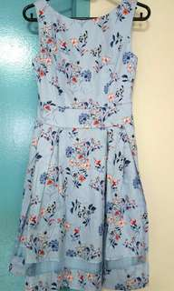 Baby Blue Floral Dress Size XS
