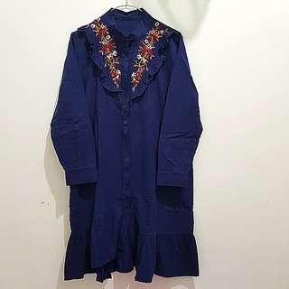 Dress zara bordir ruffle