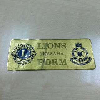 Lions Bersama PDRM Metal Plate Vintage