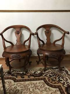 Antique Teak chair. Come in a pair. A bit stain. Sell as a pair( nego)