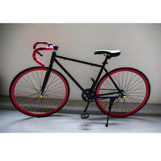 Black/Red Drop Bar Fixie [Brand New, Ready Stocks]