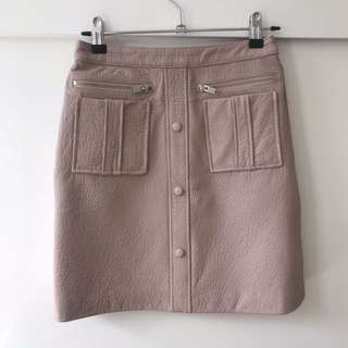 Bnwt Ena Pelly Pink Leather Skirt