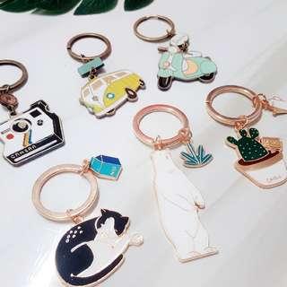 Korean Trendy Metal Keychain (Various Design)
