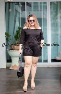 Off shoulder top plus pants plus size
