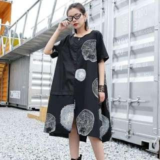 Round Neck Coil Print Dress