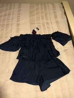 Ghanda Navy Off the Shoulder Playsuit BNWT