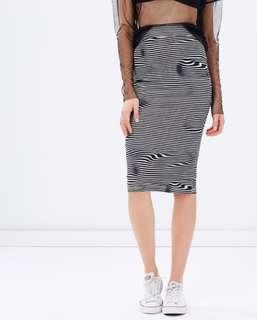 Cheap Monday skirt XS | Liquid Strip Dream Skirt Black and white