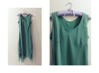 Green layered cut dress