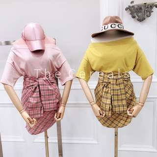TC2251 Korea 2 Pieces Shoulder Off Top + High Waist Checkers Skirt (Pink,Yellow)